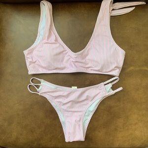 Blooming Jelly Pink Striped Bikini Small